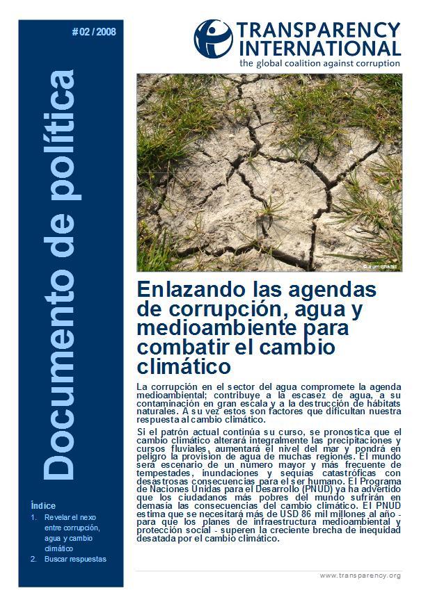 Enlazando las agendas de corrupción, agua y medioambiente para combatir el cambio climático