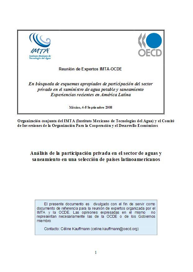 Análisis de la participación privada en el sector de aguas y saneamiento en una selección de países