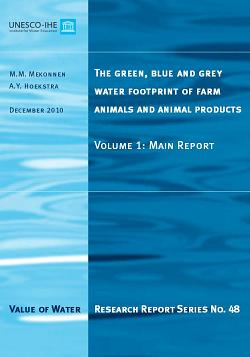 The green, blue and grey water footprint of farm animals and animal products