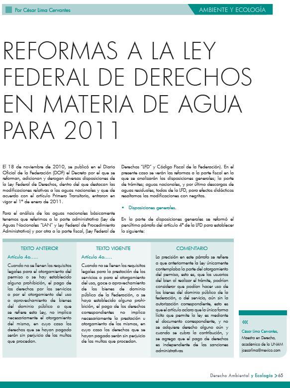 Reformas a la Ley Federal de Derechos en materia de agua para 2011