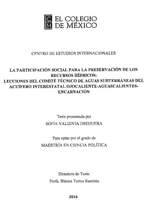 La participación social para la preservación de los recursos hídricos: El caso del COTAS Ojo Calientes-Aguascalientes-Encarnación