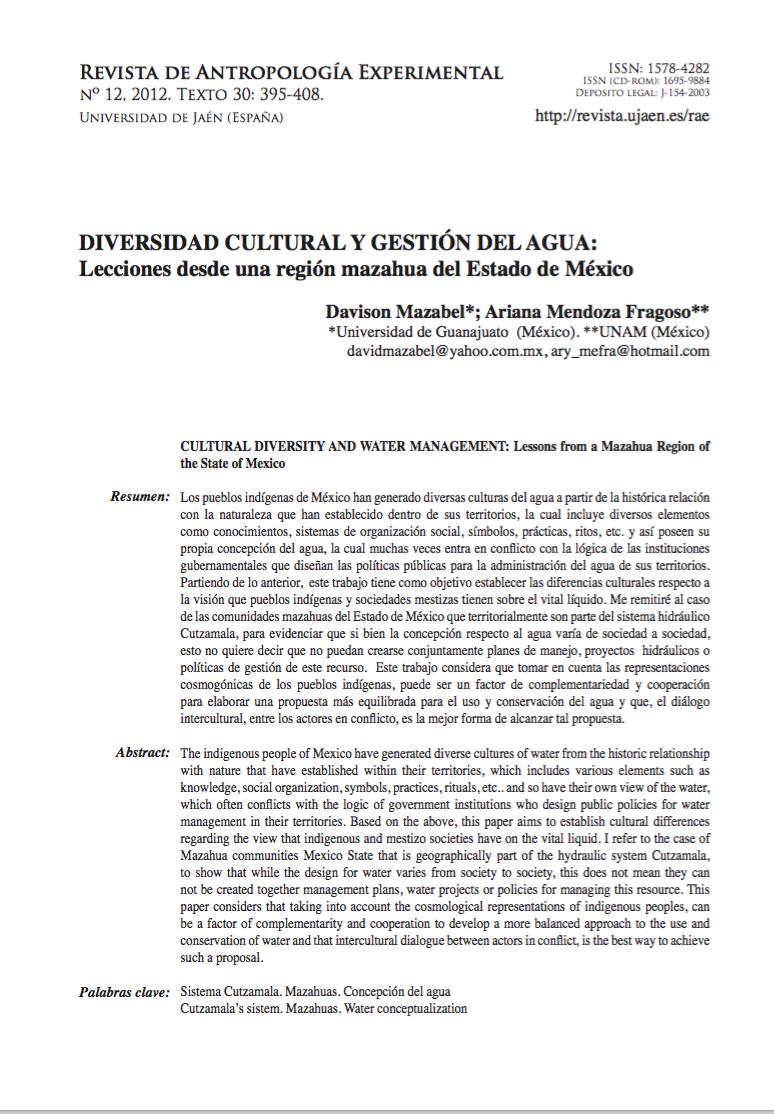Diversidad cultural y gestión del agua: Lecciones desde una región mazahua del Estado de México