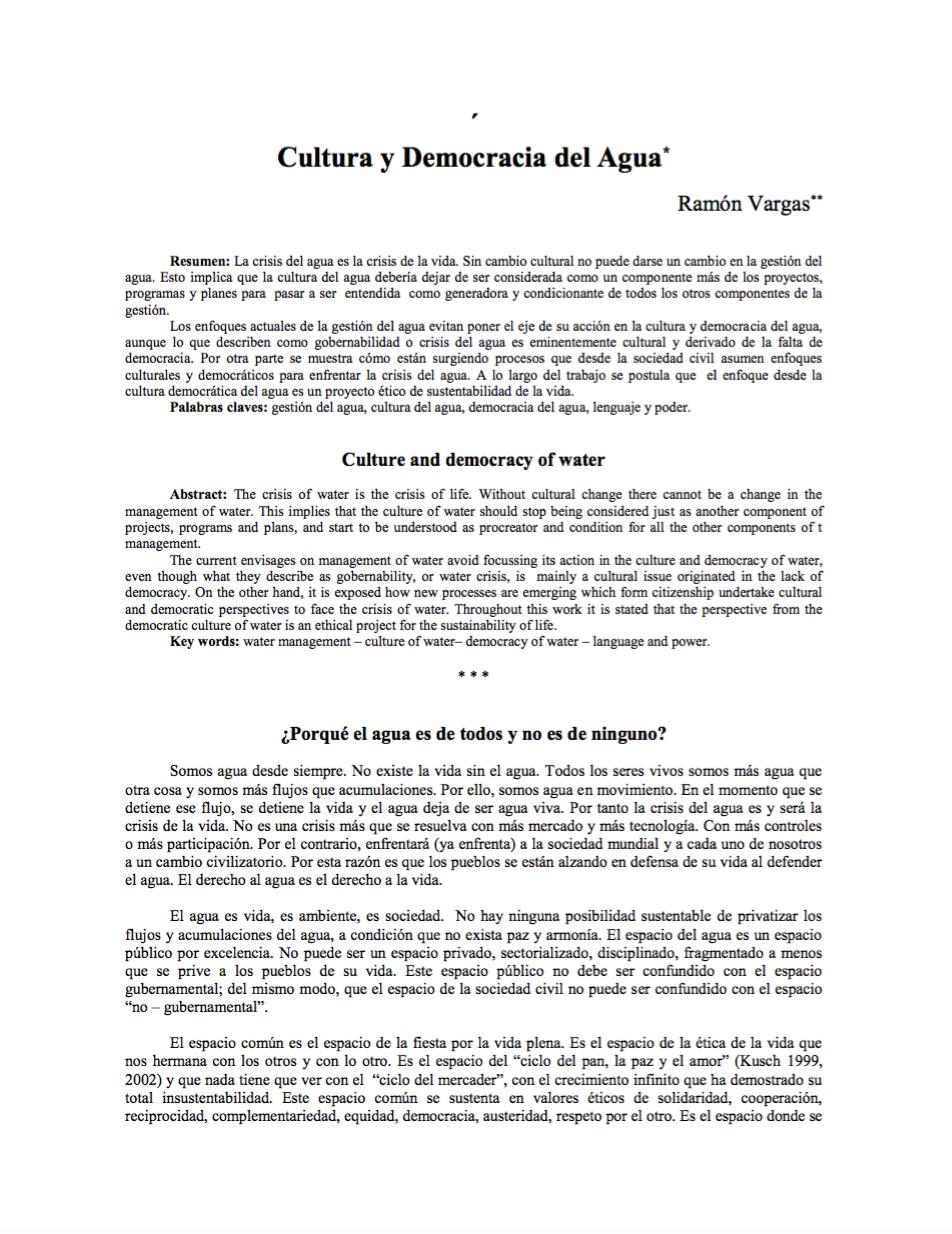 Cultura y democracia del agua