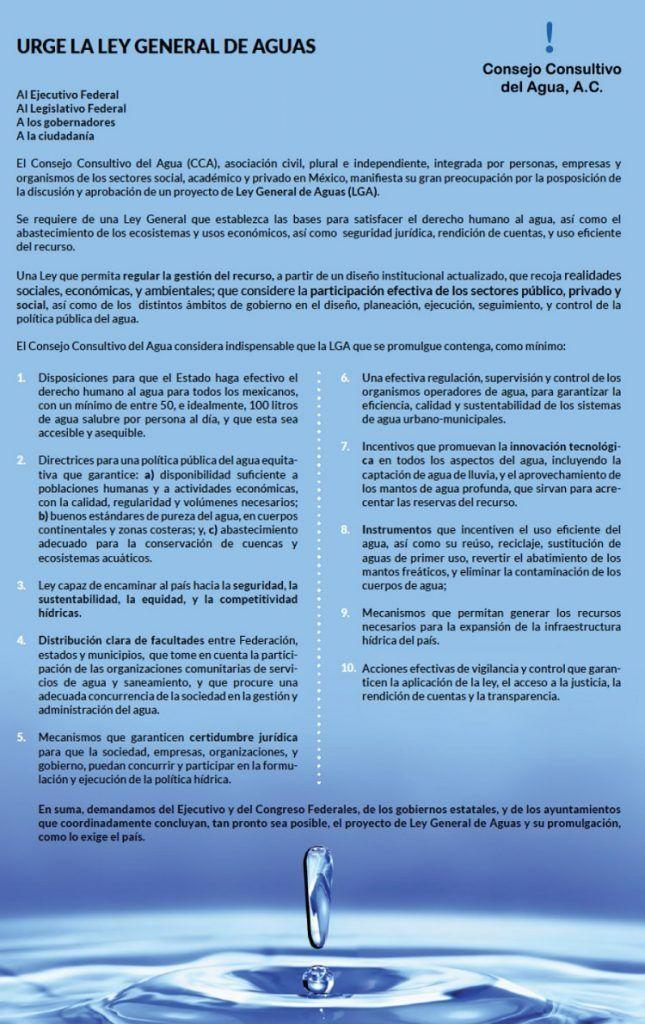 Urge la Ley General de Aguas: Afirma el Consejo Consultivo del Agua