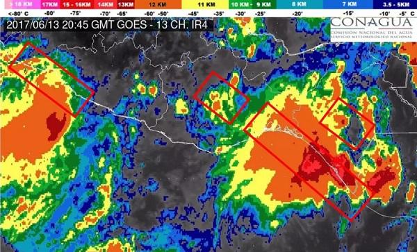 """Depresión tropical """"Calvin"""" provocará fuertes tormentas en el sur del país"""