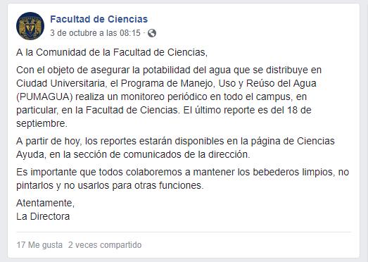 Por casos de estudiantes con paperas, realizan monitores del agua en CU de la UNAM (El Universal)