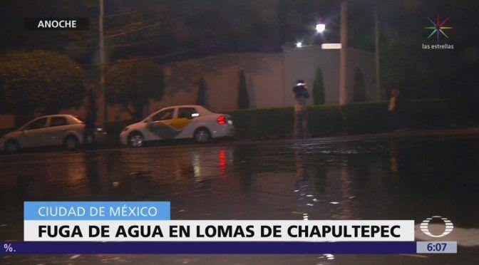 CDMX: Enorme fuga de agua en Lomas de Chapultepec (Televisa. news)
