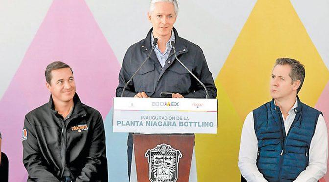 Del Mazo inaugura planta embotelladora de agua más grande del mundo (Milenio)