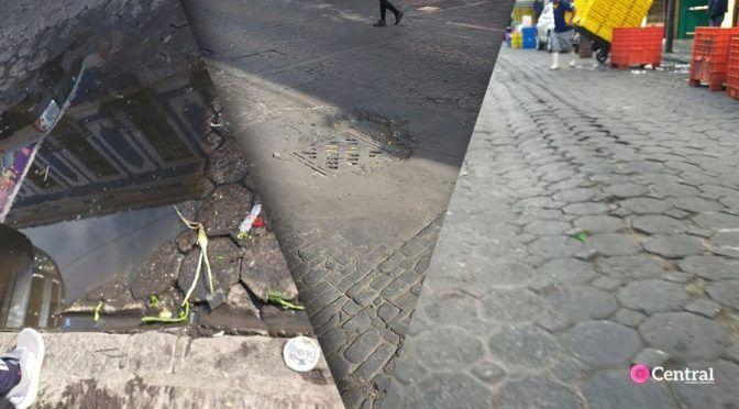 Puebla: Tuberías de agua en el centro Histórico a punto de colapsar; las calles ya tienen hundimientos ( cent