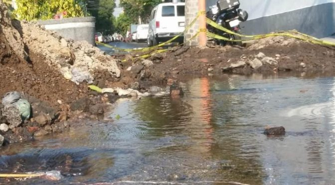 Fuga de agua inunda avenida Congreso de la Unión (Milenio)