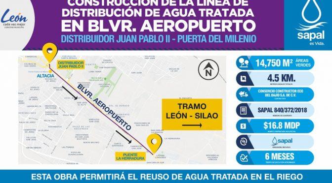 Guanajuato: Iniciará Sapal obra de línea de distribución de Agua Tratada en bulevar Aeropuerto en León (Milenio)