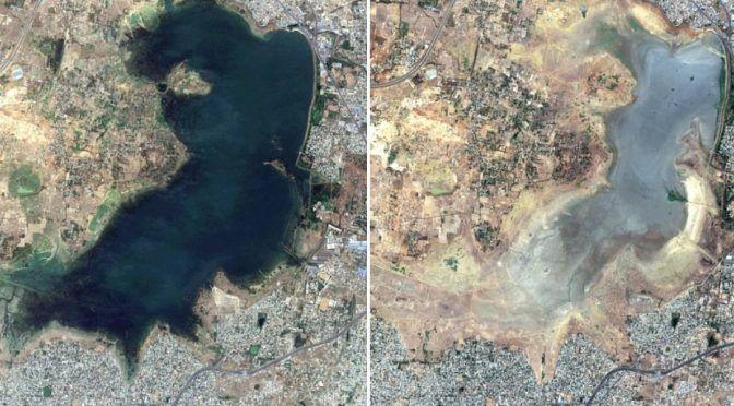 India: Un año de diferencia y 5 millones de personas sin agua: la impresionante imagen satelital que revela la grave crisis hídrica en el país (publimetro)