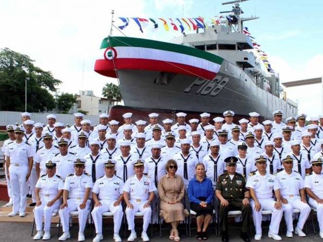 Tampico: Beatriz Gutiérrez Müller amadrina patrulla océanica de Semar (Excelsior)