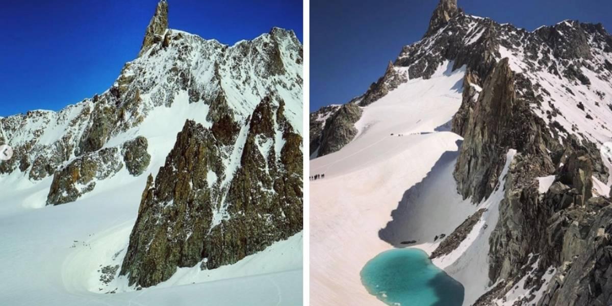 Europa: El cambio climático no es una farsa: alpinista registró alarmante aparición de lago en medio de glaciares en Los Alpes (publimetro)