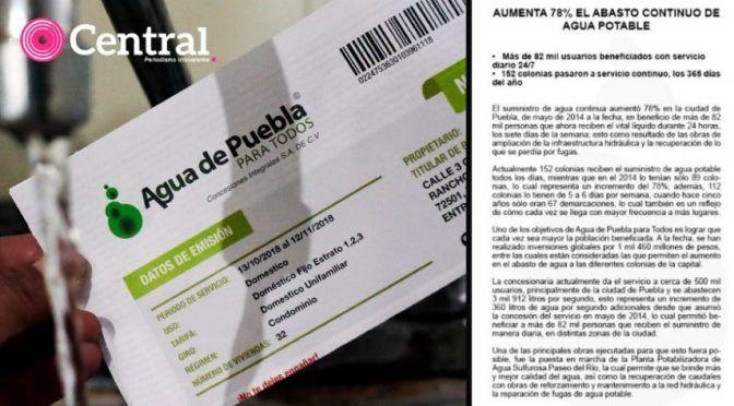 Puebla: En 5 años, Concesiones Integrales ha hecho el negocio de su vida con el manejo del agua pero solo han invertido el 37% del dinero que prometió en el contrato (central)