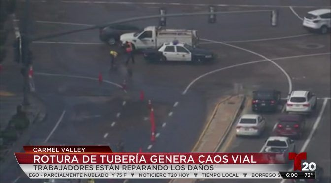 EEUU: Fuga de agua por rotura de tubería afecta tráfico en Carmel Valley (Telemundo)