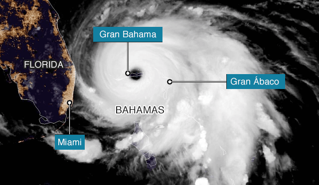 Bahamas: Impactante imagen satelital que muestra una parte de la isla sumergida bajo el agua (BBC News)