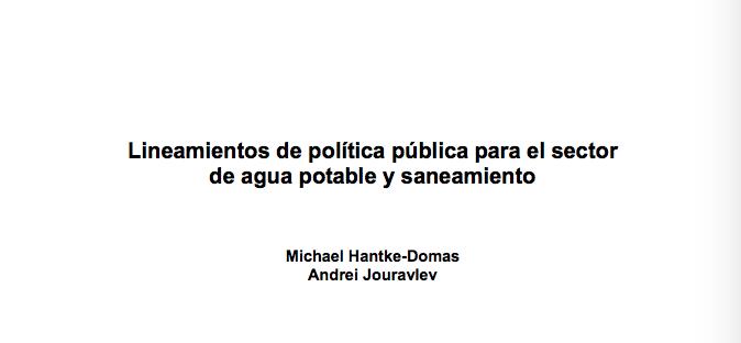 Lineamientos de política pública para el sector de agua potable y saneamiento (Libro)