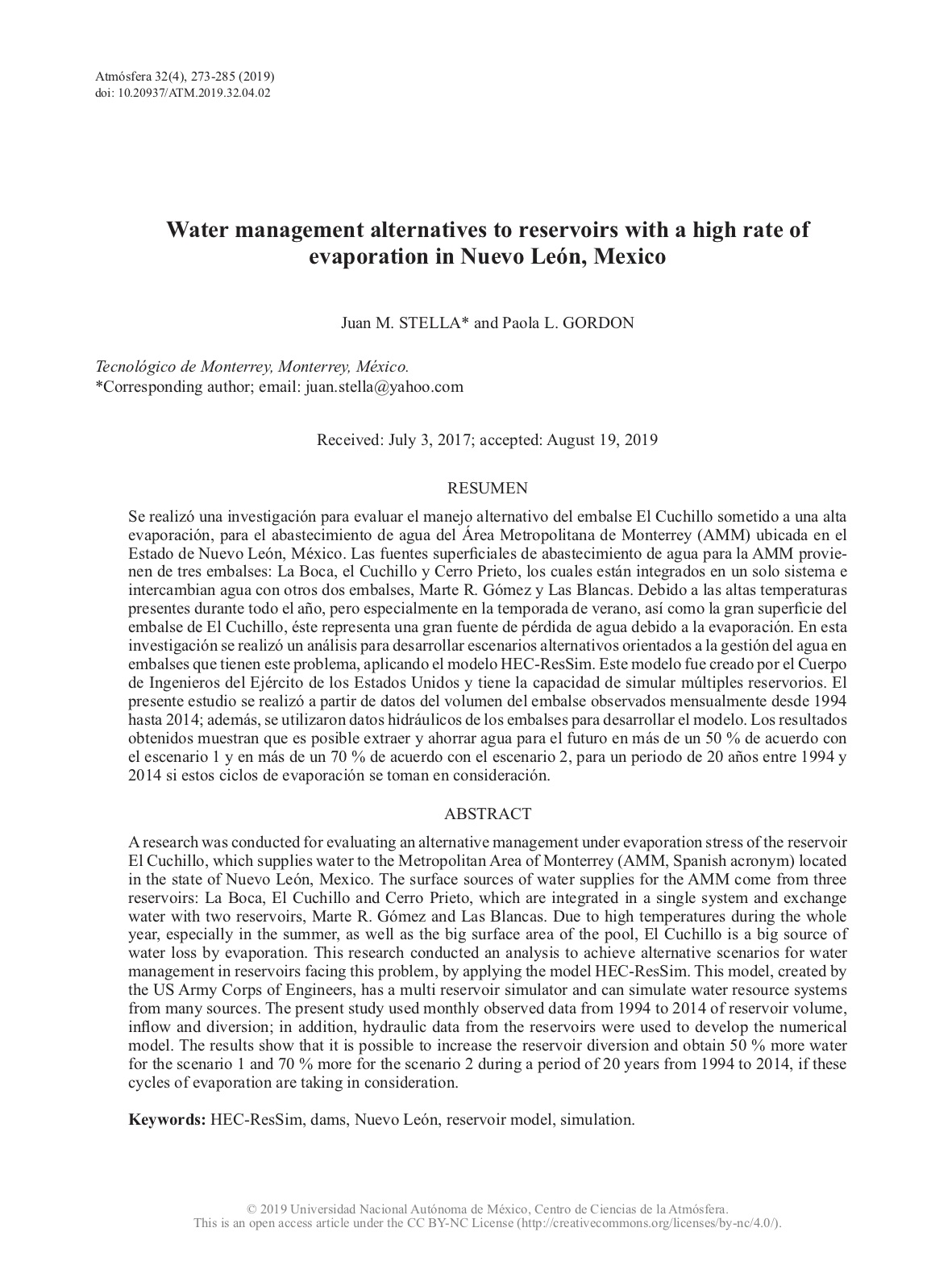 Water management alternatives to reservoirs with a high rate of evaporation in Nuevo León, Mexico