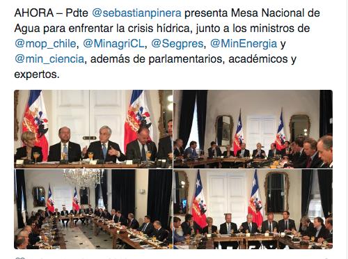 Piñera presenta la Mesa Nacional del Agua para enfrentar la grave crisis hídrica en Chile (RT)