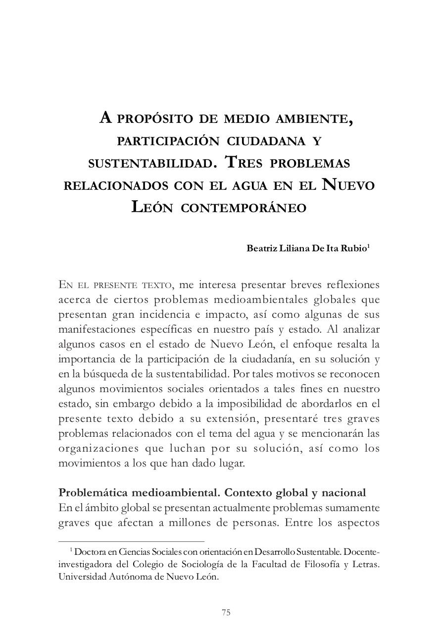 A propósito de medio ambiente, participación ciudadana y sustentabilidad. Tres problemas relacionados con el agua en el Nuevo León contemporáneo.