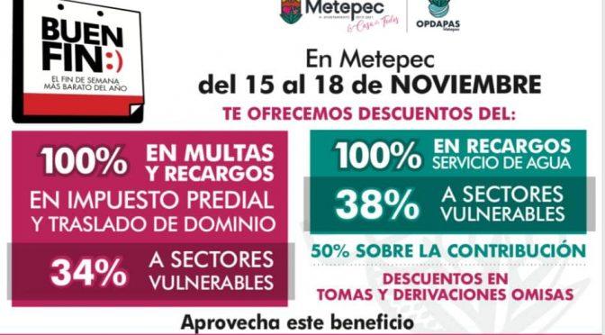 Edomex: Ofrece Metepec descuentos en predial y agua durante el buen fin (Heraldo)