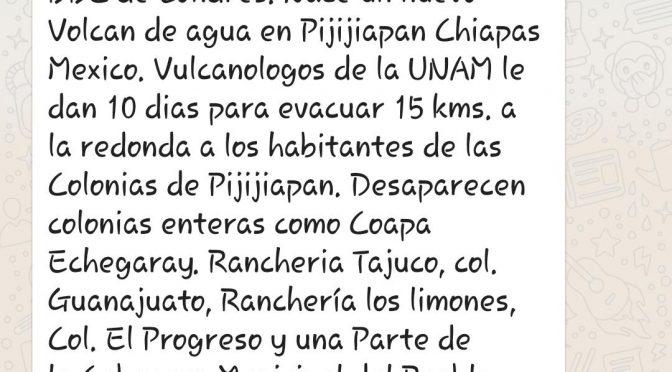Falso nuevo nacimiento de volcán de agua en Pijijiapan (Diario de Chiapas)