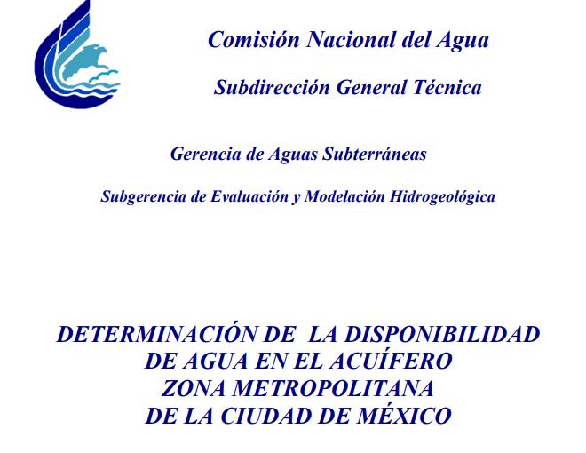Determinación de la disponibilidad de agua en el acuífero zona metropolitana de la Ciudad de México