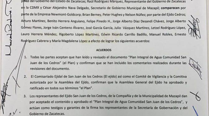 Zacatecas: Firman Plan de Agua para Cedros (NTR)