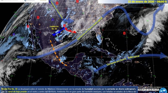 México: Frente frío no. 33 sobre el norte y noreste (El piñero)