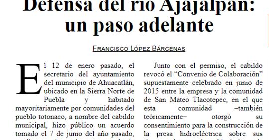 Puebla: Defensa del río Ajajalpan: un paso adelante (La Jornada)