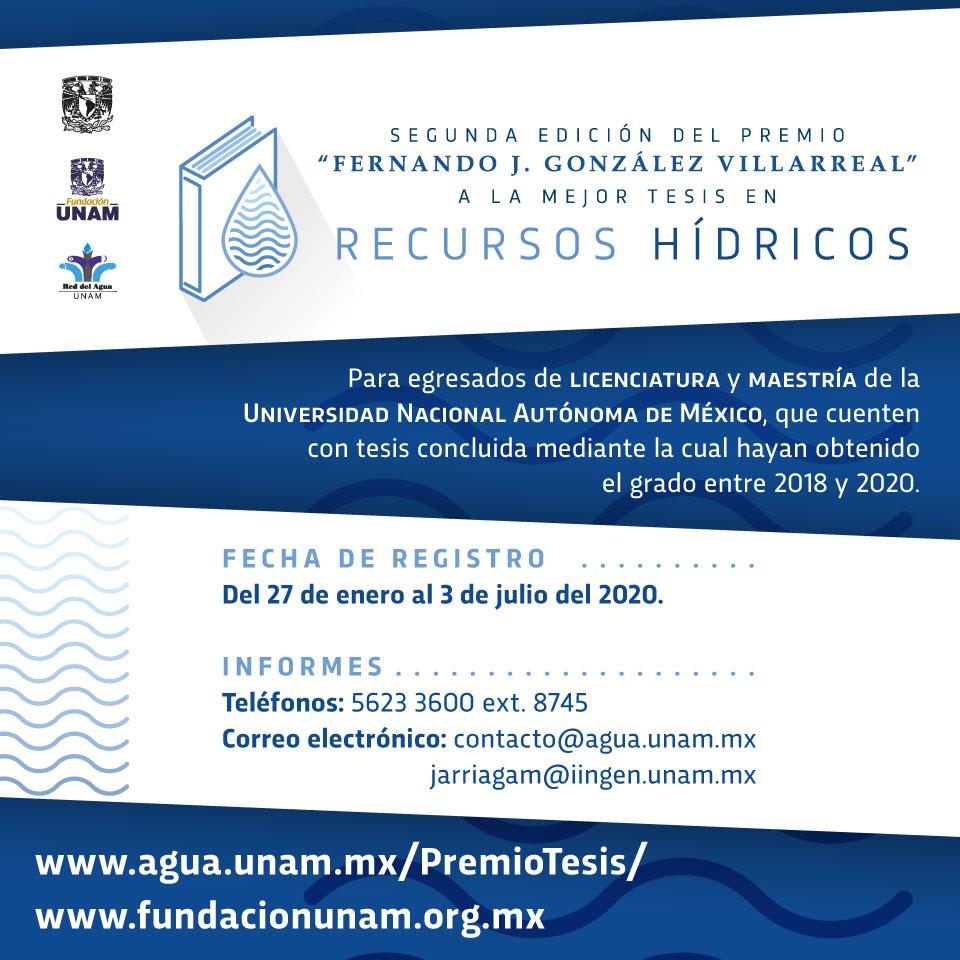 """Convocatoria: Segunda edición del Premio """"Fernando J. González Villarreal"""" a la mejor Tesis en Recursos Hídricos"""