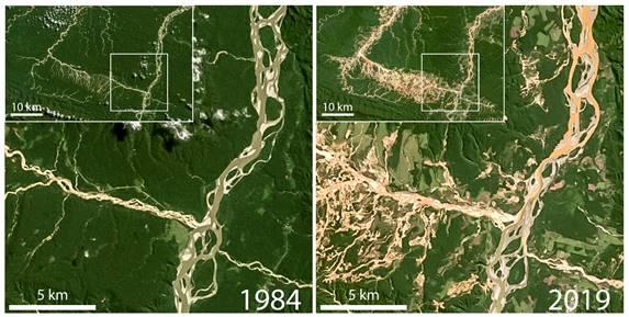 Perú: Imágenes satelitales muestran el impacto de 34 años de minería ilegal en ríos de Madre de Dios (Mongabay Latam)