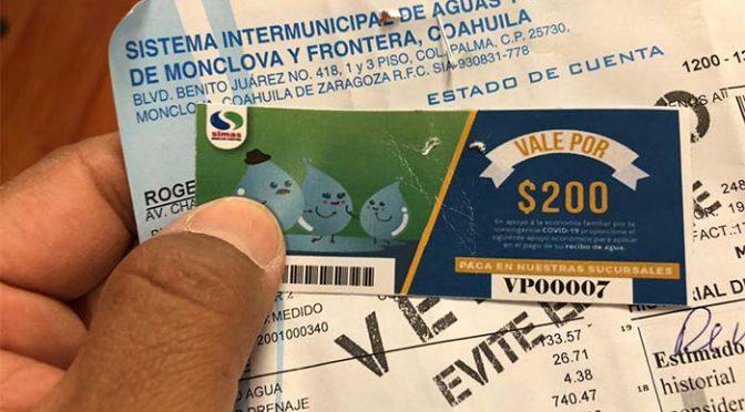 Coahuila: Entrega Simas vales para pagar el agua (La Prensa de Monclova)