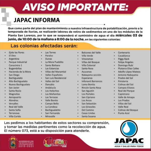 Sinaloa: Colonias al sur de Culiacán que se quedarán sin agua este 3 de junio (Debate)