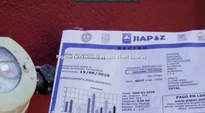 Zacatecas: Pagarán tarifa mínima de agua 86 mil usuarios (NTR)