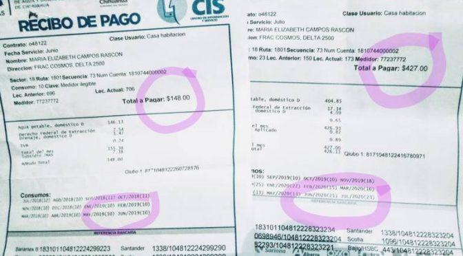 Chihuahua: Usuarios del servicio de agua se quejan por aumento en recibos de más del 100%. (El Heraldo de Chihuahua)