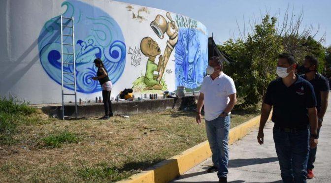 Promueve SCAPSJ cuidado del agua a través de arte urbano (La Jornada Morelos)