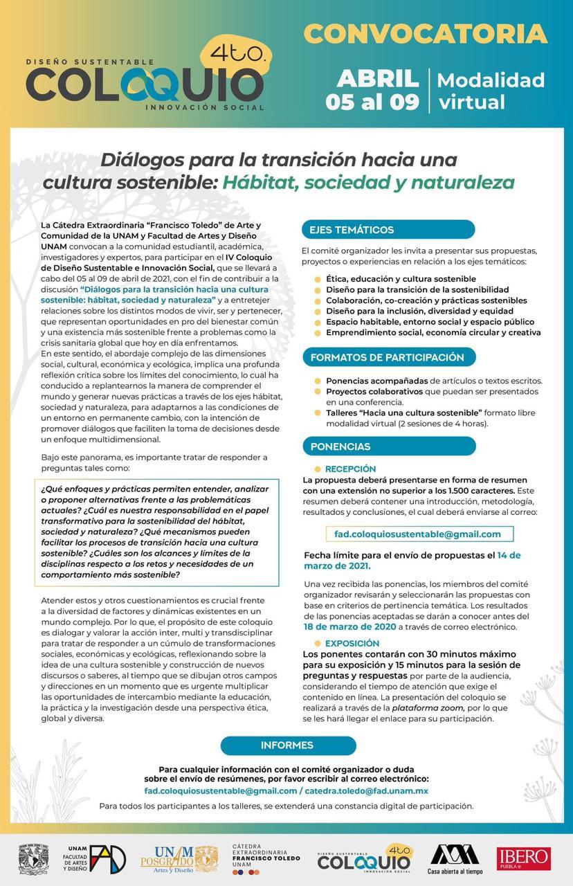 Convocatoria FAD: 4o Coloquio Diseño Sustentable e Innovación Social (Modalidad Virtual)