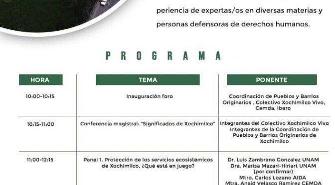 """CEMDA- Foro Virtual """"El conflicto ambiental en Xochimilco: ¿Una ciudad para personas o para autos?"""""""