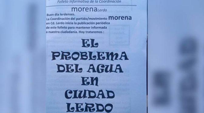 Durango: MORENA politiza el tema de agua potable en Lerdo (El Sol de Laguna)