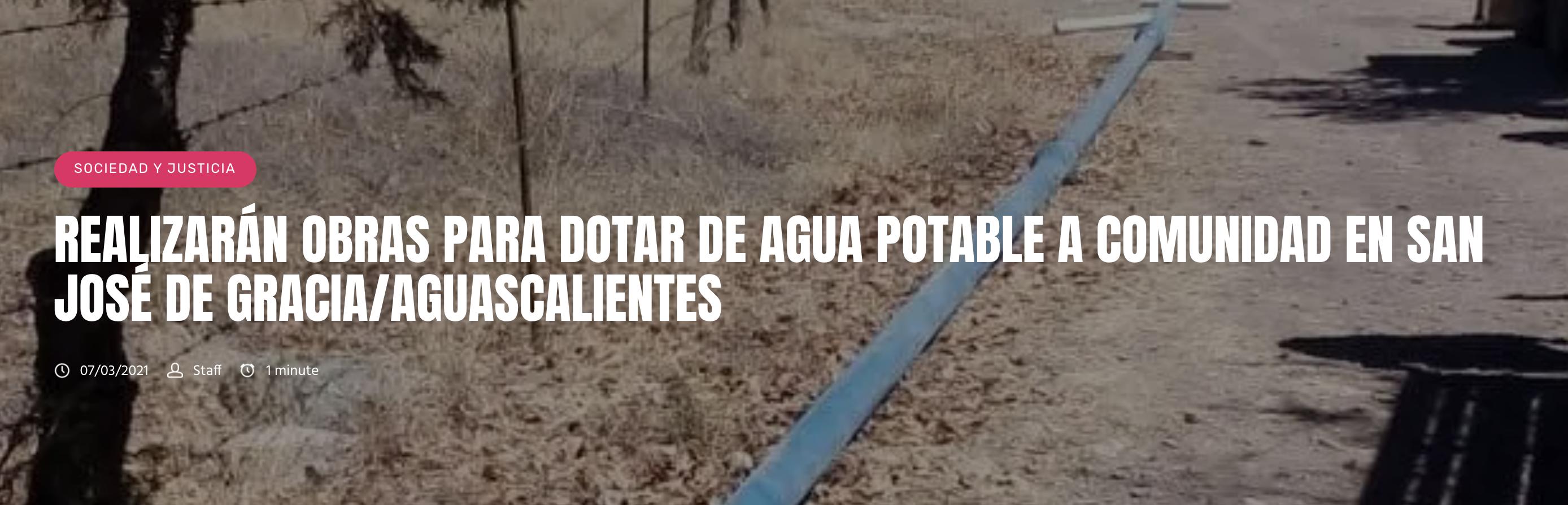 Ags: Realizarán obras para dotar de agua potable a comunidad en San José Gracia/Aguascalientes (LJA.mx)