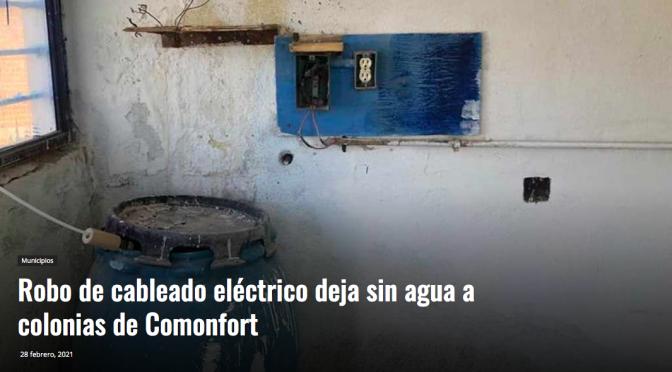 Guanajuato: Robo de cableado eléctrico deja sin agua a colonias de Comonfort (Periódico correo)