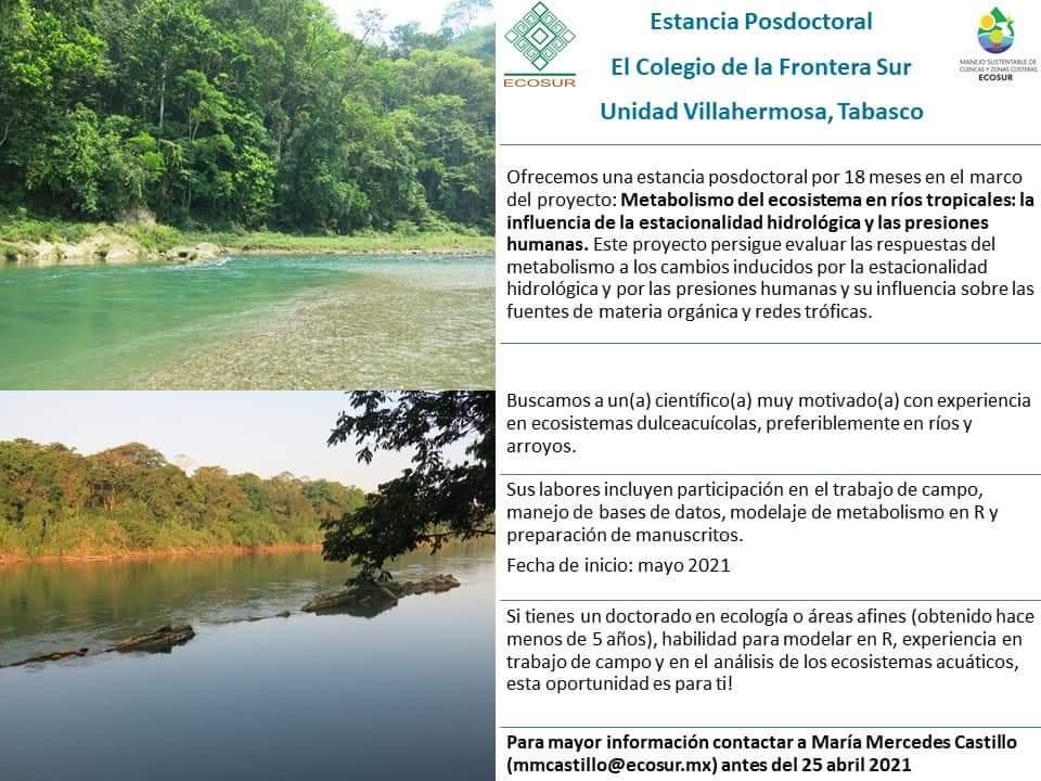 Colegio de la Frontera del Sur- Estancia Posdoctoral Unidad Villahermosa, Tabasco