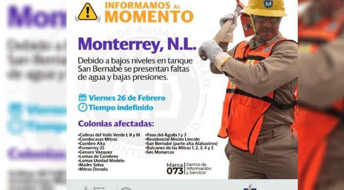 Nuevo León: Sufrirán falta de agua en 14 colonias de Monterrey (ABCnoticias.mx)