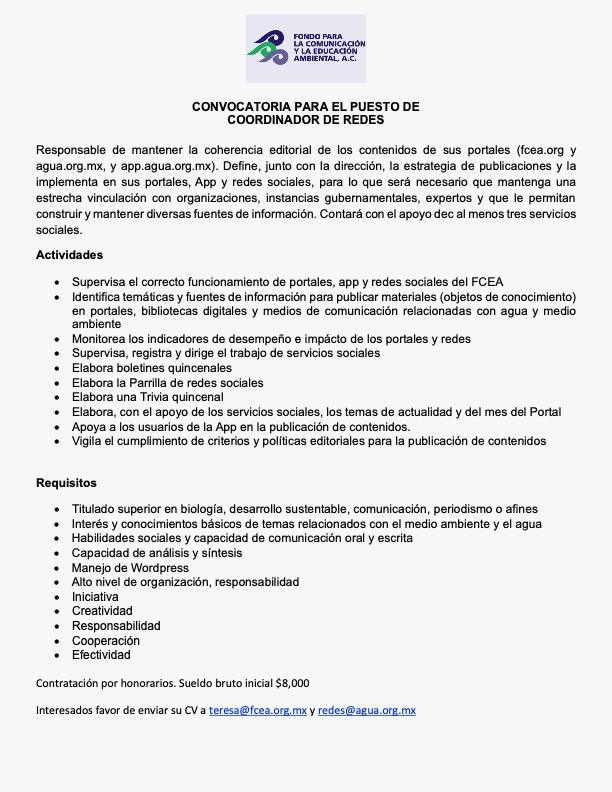 Convocatoria FCEA: Coordinador de Redes