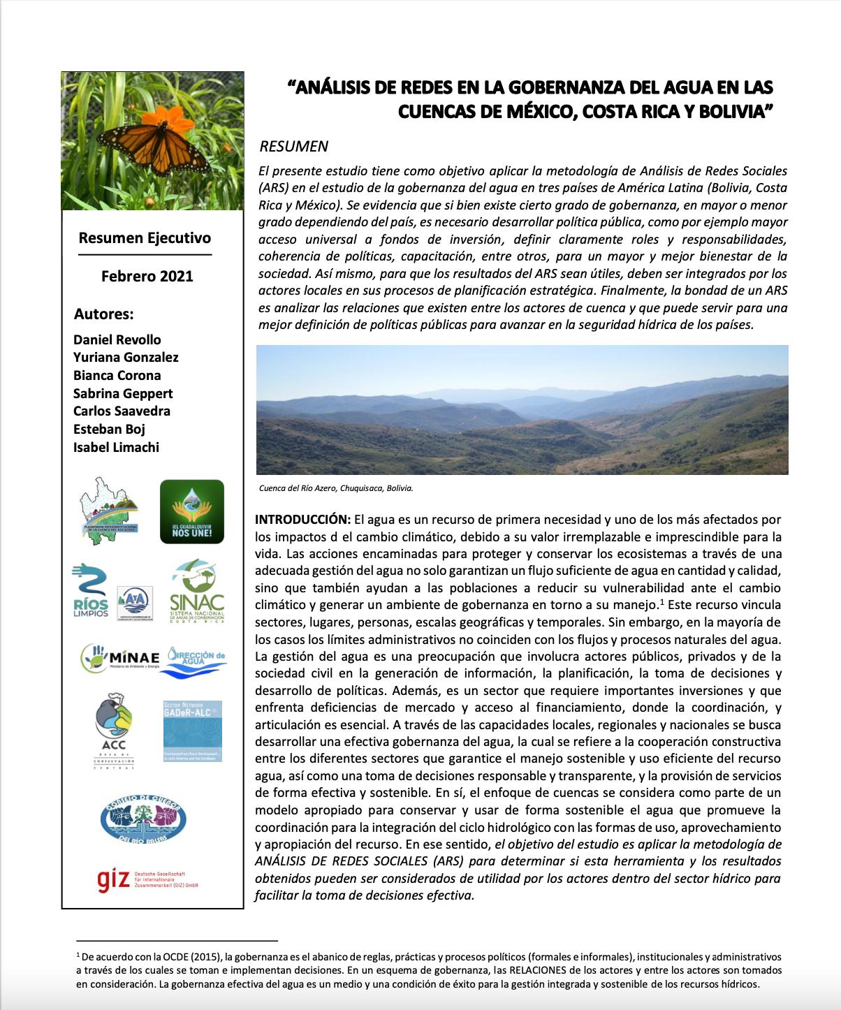 Análisis de redes en la gobernanza del agua en las Cuencas de México, Costa Rica y Bolivia