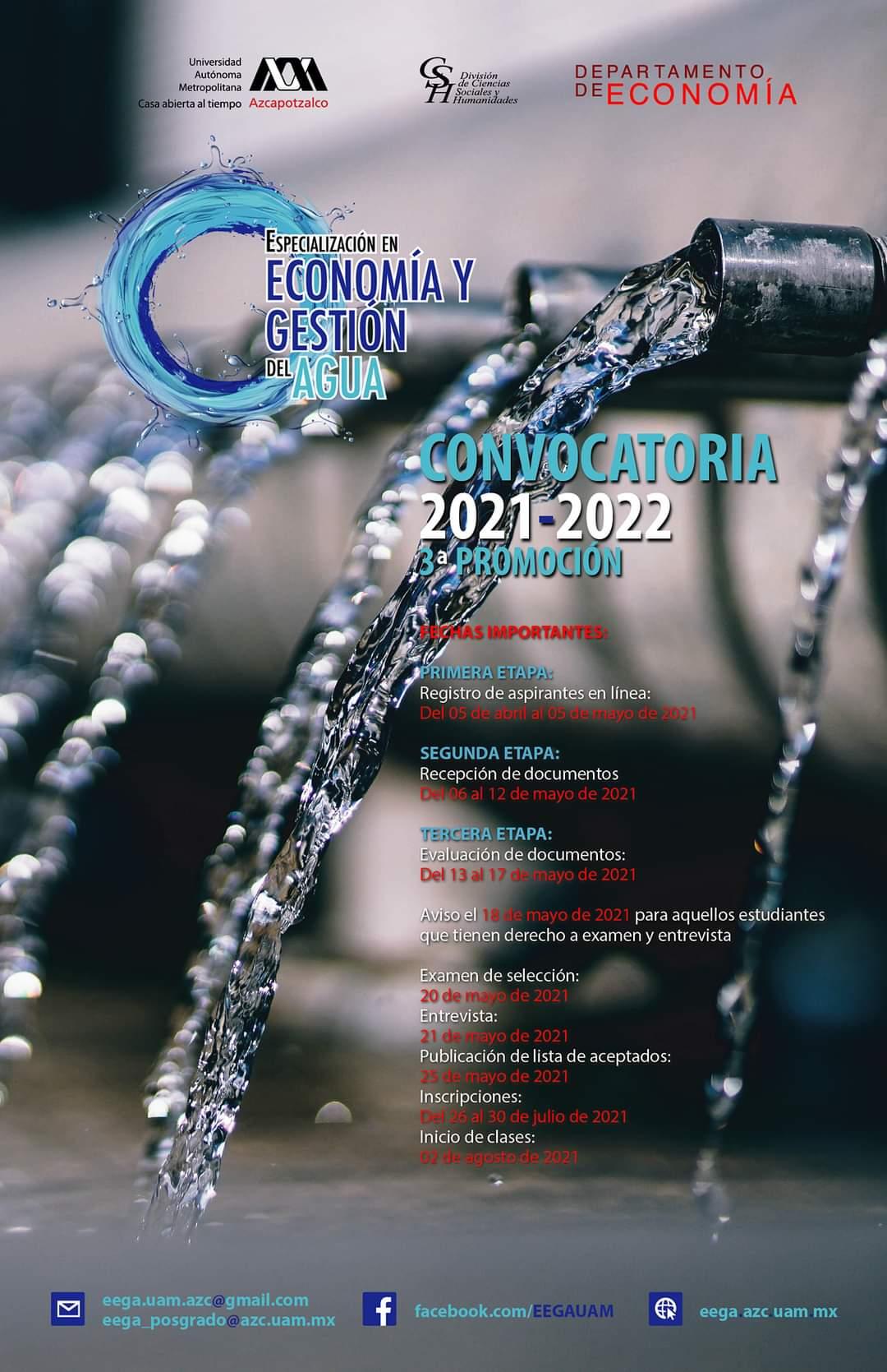 UAM Azcapotzalco Convocatoria Posgrado 2021: Especialización en Economía y Gestión del Agua