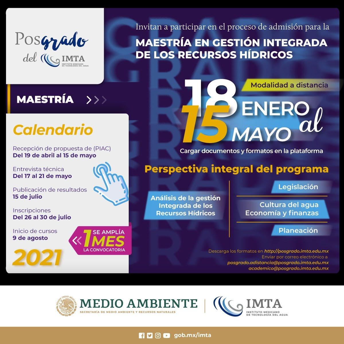 Extensión de plazo de admisión para Maestría en Gestión Integrada de los Recursos Hídricos