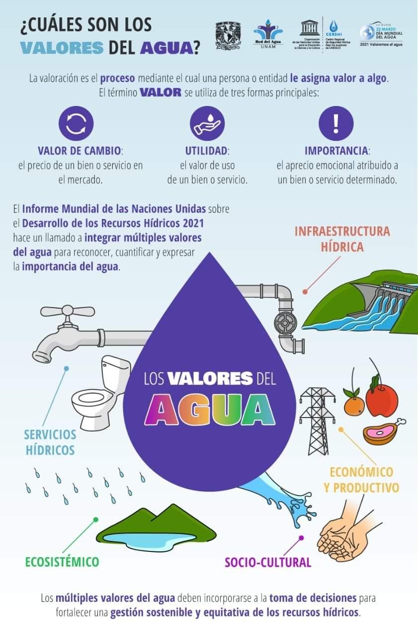Agua UNAM- ¿Cuáles son los valores del agua? (Infografía)
